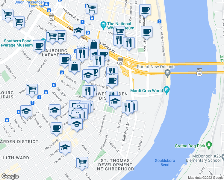 map of restaurants, bars, coffee shops, grocery stores, and more near 1420 Annunciation Street in New Orleans