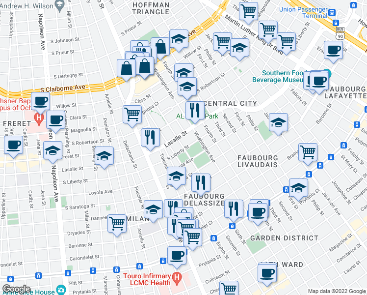map of restaurants, bars, coffee shops, grocery stores, and more near 2311 Sixth Street in New Orleans