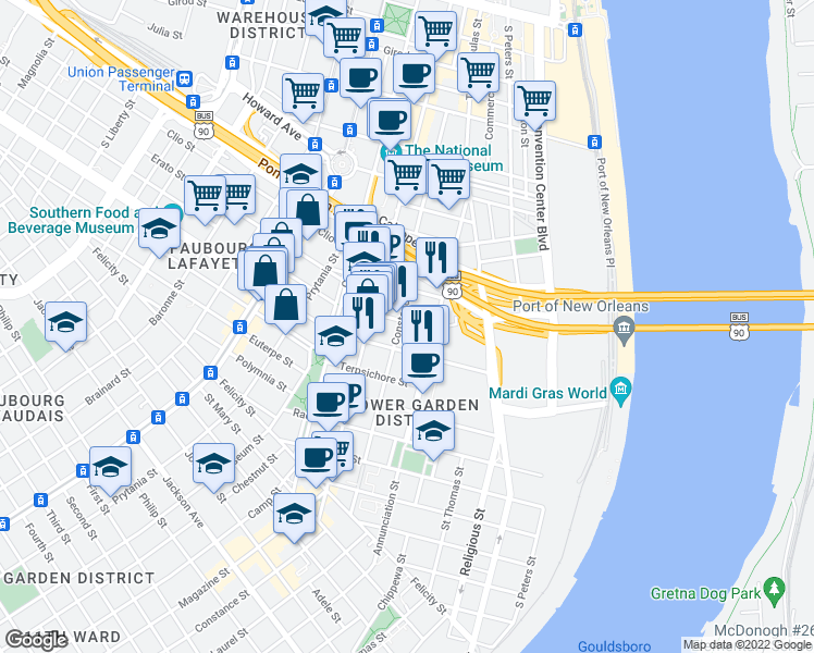 map of restaurants, bars, coffee shops, grocery stores, and more near 938 Thalia Street in New Orleans