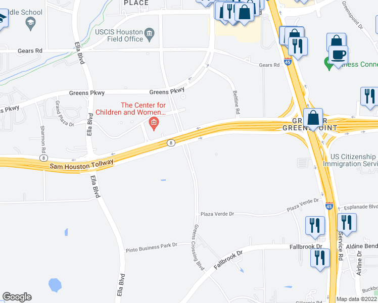 map of restaurants, bars, coffee shops, grocery stores, and more near 10710 Greens Crossing Boulevard in Houston