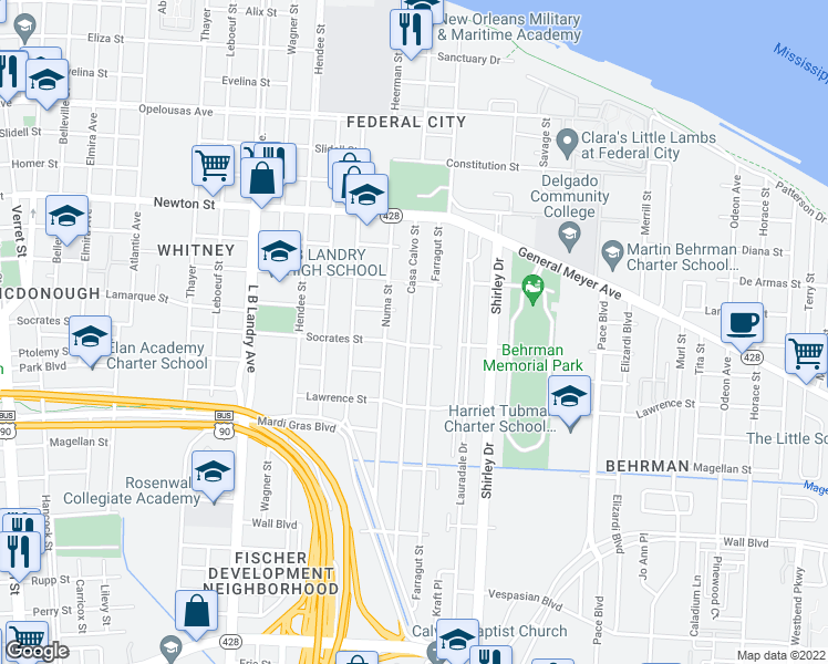 map of restaurants, bars, coffee shops, grocery stores, and more near 1272 Casa Calvo Street in New Orleans