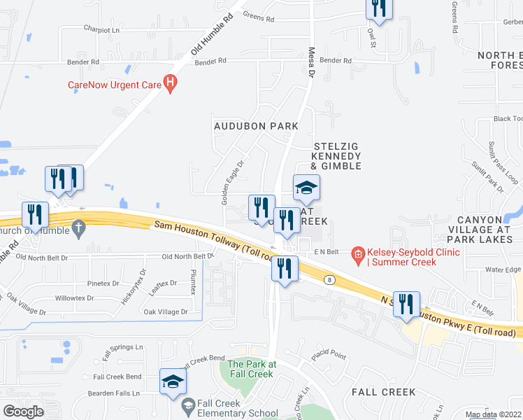 map of restaurants, bars, coffee shops, grocery stores, and more near 15115 Mesa Drive in Humble