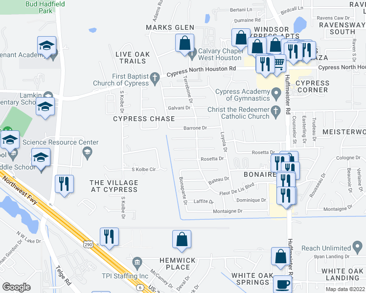 map of restaurants, bars, coffee shops, grocery stores, and more near 14222 Sylvia Drive in Cypress