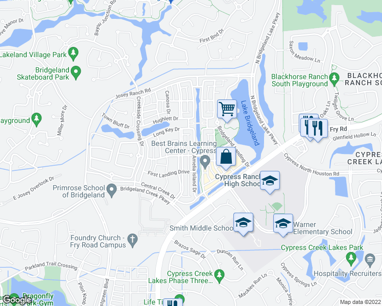 map of restaurants, bars, coffee shops, grocery stores, and more near 16803 Amelia Island Drive in Cypress