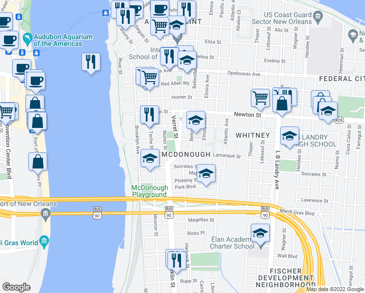 map of restaurants, bars, coffee shops, grocery stores, and more near 1232 Vallette Street in New Orleans