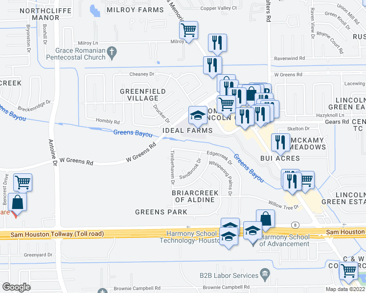 map of restaurants, bars, coffee shops, grocery stores, and more near 3446 Edgecreek Drive in Houston