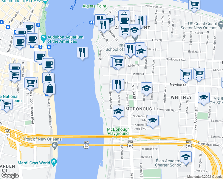 map of restaurants, bars, coffee shops, grocery stores, and more near 1026 Brooklyn Avenue in New Orleans