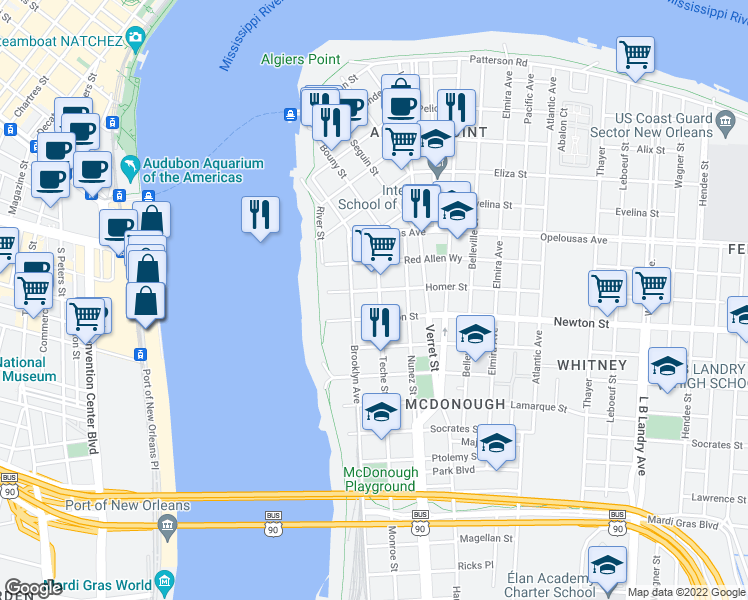 map of restaurants, bars, coffee shops, grocery stores, and more near 907 Teche Street in New Orleans