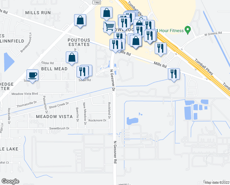 map of restaurants, bars, coffee shops, grocery stores, and more near 12323 North Gessner Drive in Houston