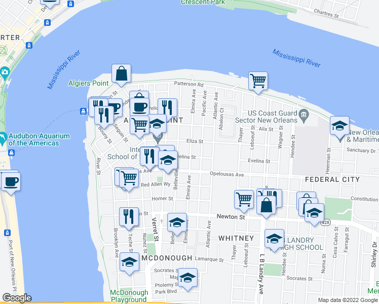 map of restaurants, bars, coffee shops, grocery stores, and more near 535 Elmira Avenue in New Orleans