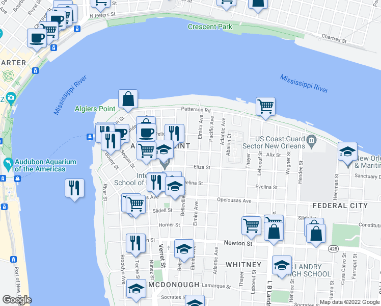 map of restaurants, bars, coffee shops, grocery stores, and more near 813 Alix Street in New Orleans