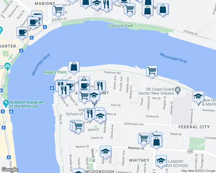 map of restaurants, bars, coffee shops, grocery stores, and more near 813 Pelican Avenue in New Orleans