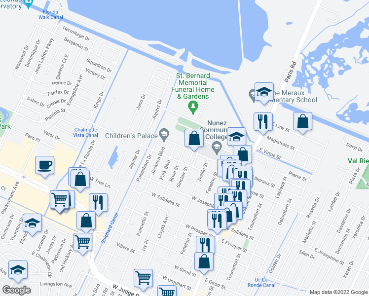 map of restaurants, bars, coffee shops, grocery stores, and more near 604 West Liberaux Street in Chalmette