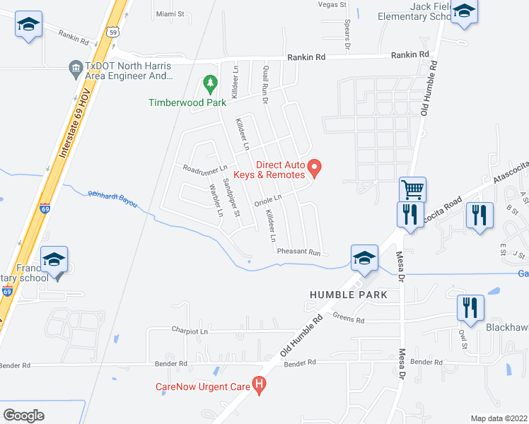map of restaurants, bars, coffee shops, grocery stores, and more near 3110 Killdeer Lane in Humble