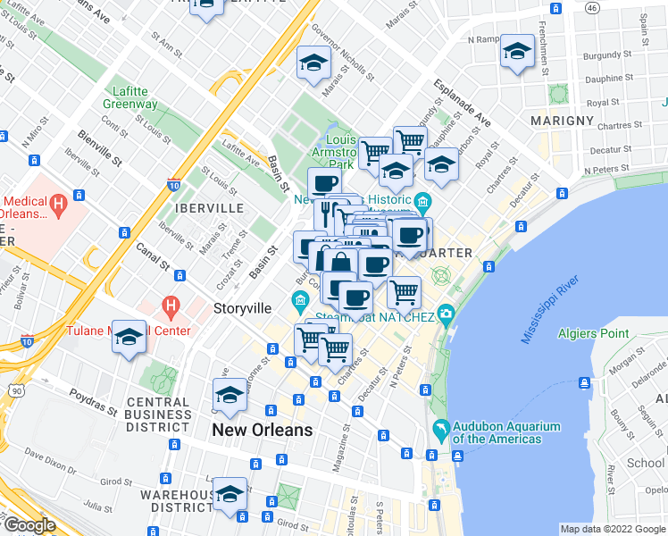 map of restaurants, bars, coffee shops, grocery stores, and more near 905 Saint Louis Street in New Orleans