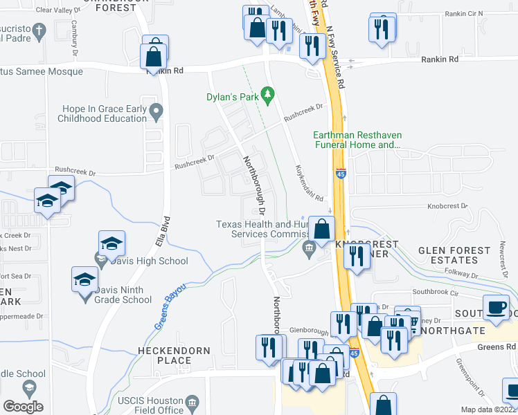 map of restaurants, bars, coffee shops, grocery stores, and more near 13139-13169 Northborough Drive in Houston