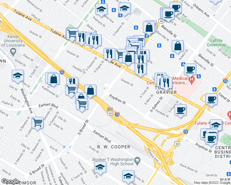 map of restaurants, bars, coffee shops, grocery stores, and more near 2651 Poydras Street in New Orleans