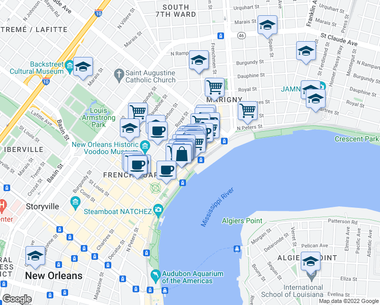 map of restaurants, bars, coffee shops, grocery stores, and more near 1101 Decatur Street in New Orleans