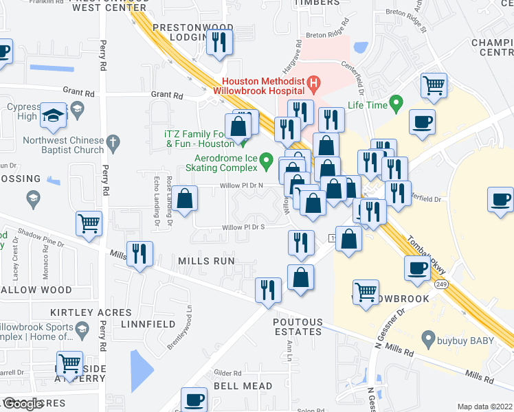 map of restaurants, bars, coffee shops, grocery stores, and more near 8301 Willow Place Drive North in Houston