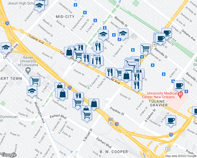 map of restaurants, bars, coffee shops, grocery stores, and more near 636 South Gayoso Street in New Orleans