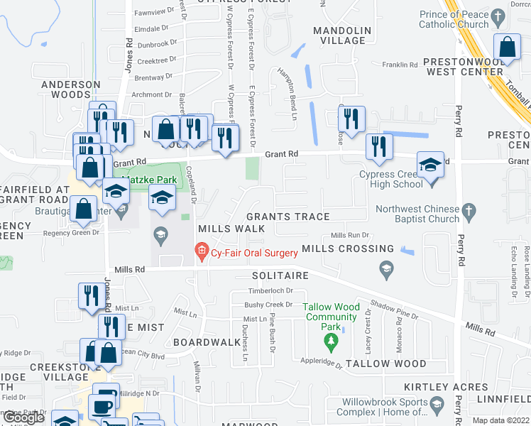 map of restaurants, bars, coffee shops, grocery stores, and more near 10503 Mills Cove Street in Houston