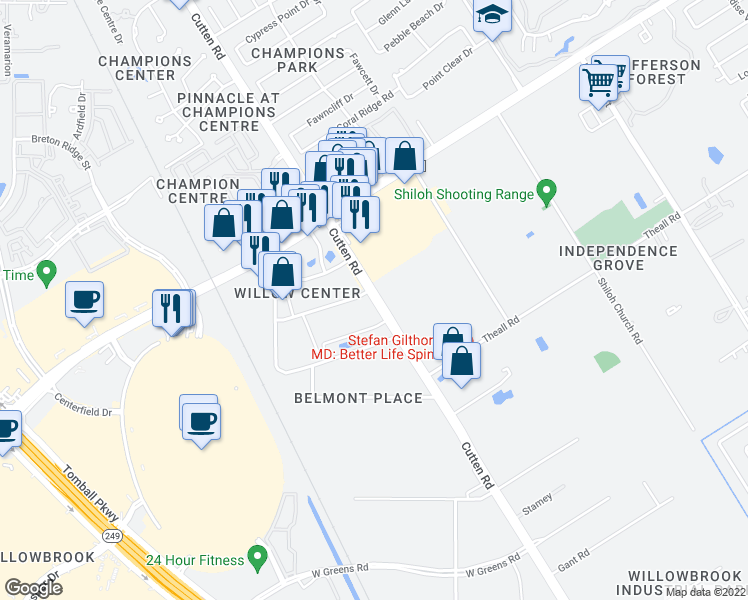 map of restaurants, bars, coffee shops, grocery stores, and more near Cutten Road in Houston