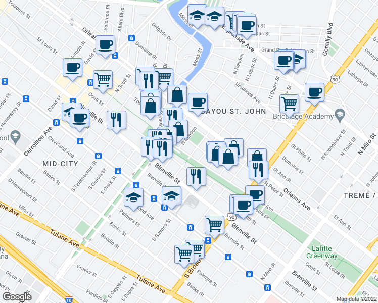 map of restaurants, bars, coffee shops, grocery stores, and more near 601-699 North Lopez Street in New Orleans