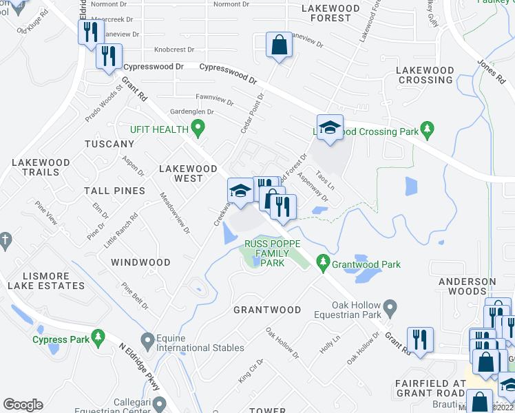 map of restaurants, bars, coffee shops, grocery stores, and more near 12 Lakewood Forest Drive in Houston