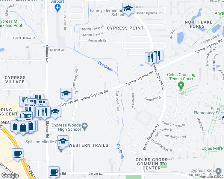 map of restaurants, bars, coffee shops, grocery stores, and more near 16539 Spring Cypress Road in Cypress