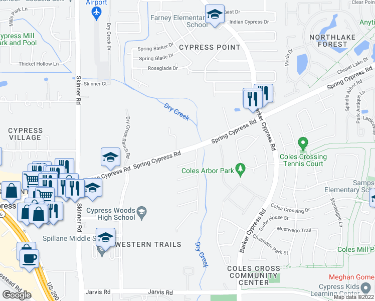 map of restaurants, bars, coffee shops, grocery stores, and more near 16614 Spring Cypress Road in Cypress