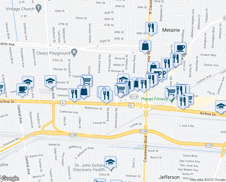 map of restaurants, bars, coffee shops, grocery stores, and more near 3504 Derbigny Street in Metairie