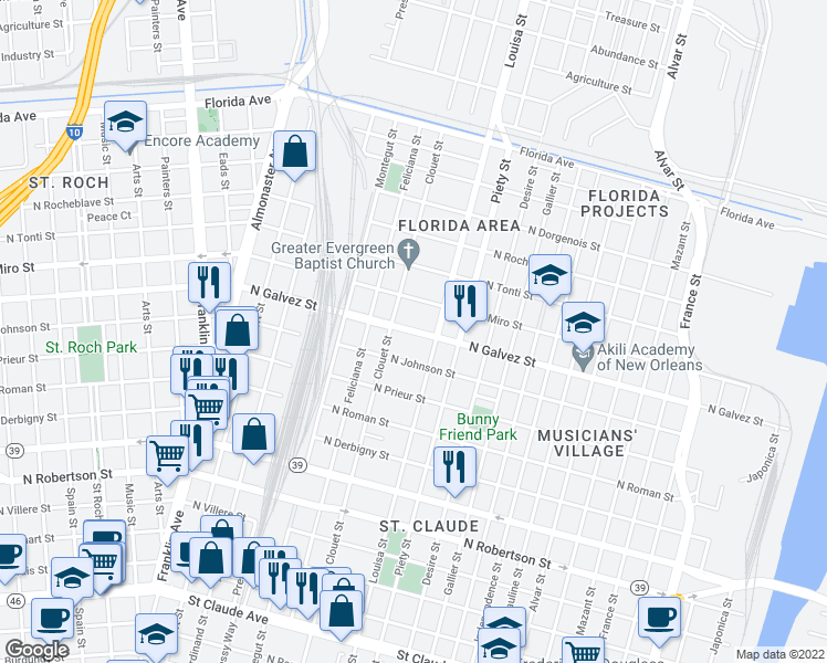 map of restaurants, bars, coffee shops, grocery stores, and more near 3124 North Galvez Street in New Orleans