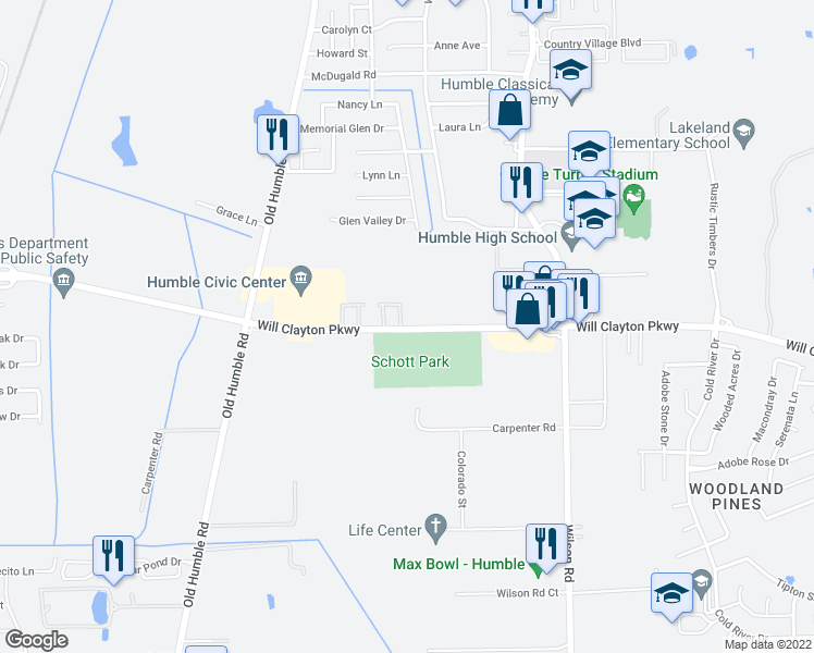 map of restaurants, bars, coffee shops, grocery stores, and more near Will Clayton Parkway in Humble