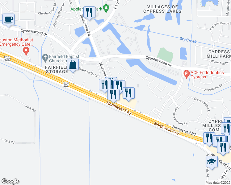 map of restaurants, bars, coffee shops, grocery stores, and more near Mueschke Road in Harris County