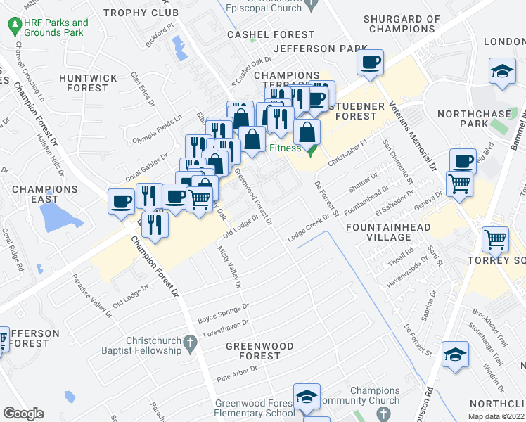 map of restaurants, bars, coffee shops, grocery stores, and more near Greenwood Forest Drive in Houston