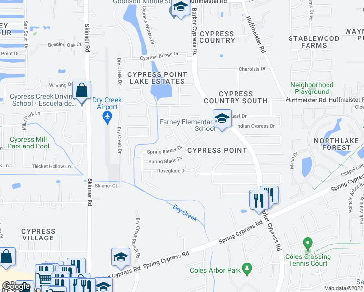 map of restaurants, bars, coffee shops, grocery stores, and more near 12500 Spring Barker Drive in Cypress