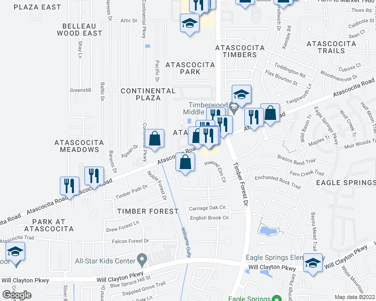 map of restaurants, bars, coffee shops, grocery stores, and more near 4849-5037 Atascocita Road in Atascocita