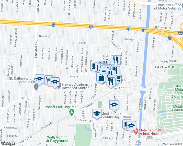 map of restaurants, bars, coffee shops, grocery stores, and more near 5 Oaklawn Drive in Metairie