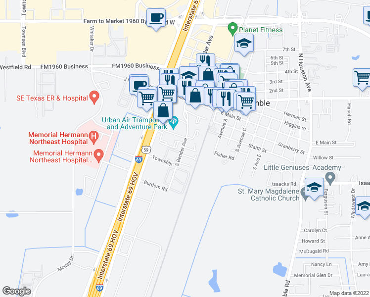 map of restaurants, bars, coffee shops, grocery stores, and more near 424-510 South Bender Avenue in Humble