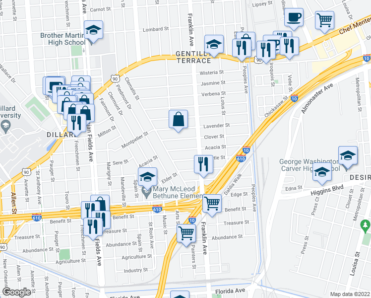 map of restaurants, bars, coffee shops, grocery stores, and more near 2529 Myrtle Street in New Orleans