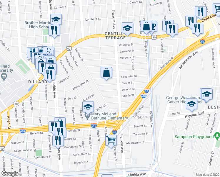 map of restaurants, bars, coffee shops, grocery stores, and more near 2545 Clover Street in New Orleans
