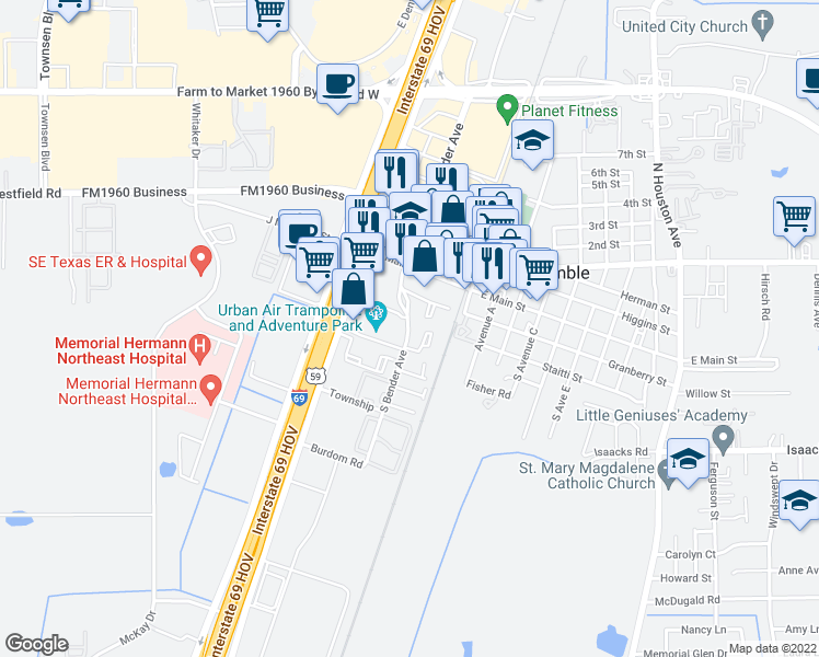 map of restaurants, bars, coffee shops, grocery stores, and more near 396-410 South Bender Avenue in Humble