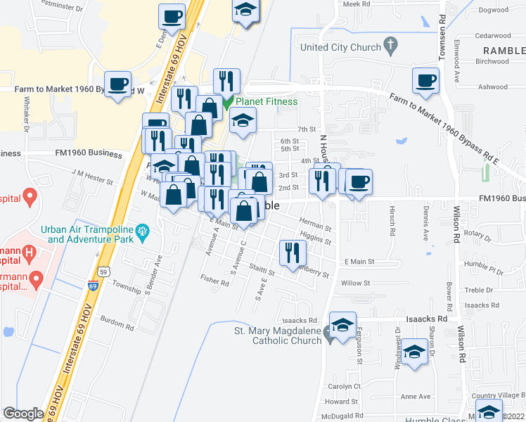 map of restaurants, bars, coffee shops, grocery stores, and more near 410 Herman Street in Humble