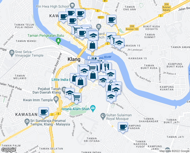 map of restaurants, bars, coffee shops, grocery stores, and more near Jalan Stesen in Klang