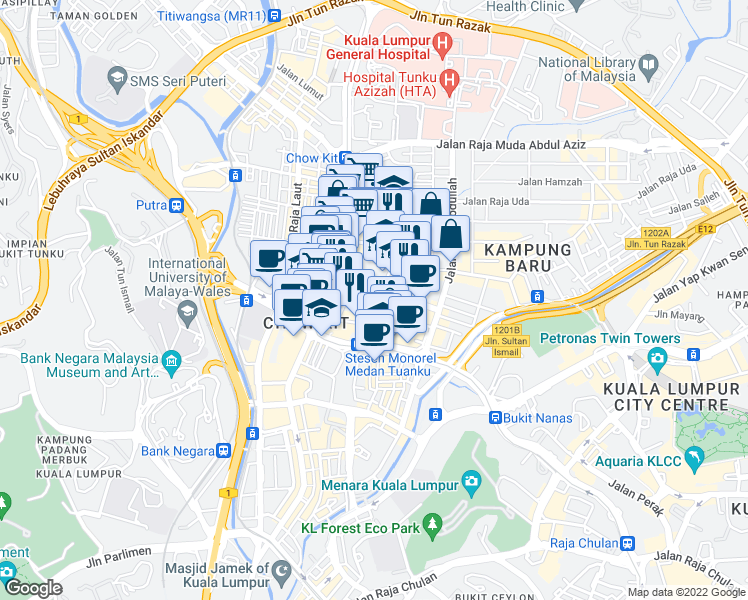 map of restaurants, bars, coffee shops, grocery stores, and more near Jalan Dewan Sultan Sulaiman 1 in Kuala Lumpur