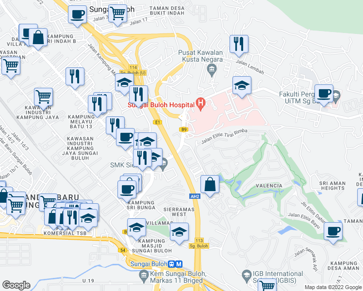 map of restaurants, bars, coffee shops, grocery stores, and more near Jalan Hospital in Sungai Buloh