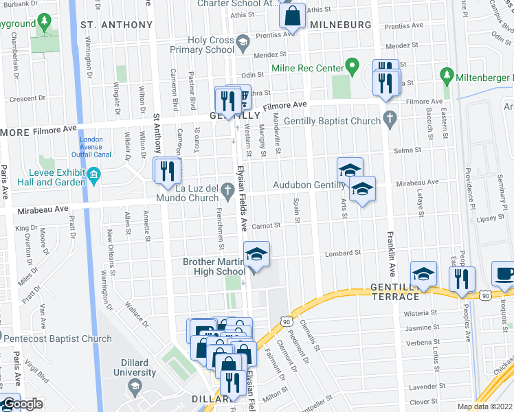 map of restaurants, bars, coffee shops, grocery stores, and more near 4749 Western Street in New Orleans