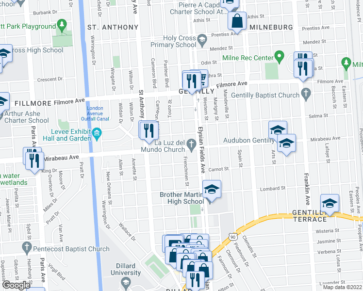 map of restaurants, bars, coffee shops, grocery stores, and more near 2135 Mirabeau Avenue in New Orleans