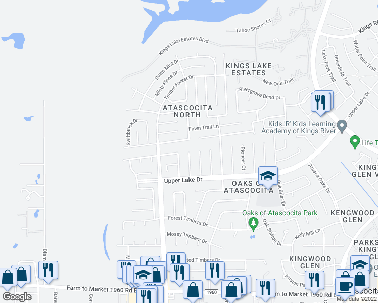 map of restaurants, bars, coffee shops, grocery stores, and more near Burle Oaks Court in Atascocita
