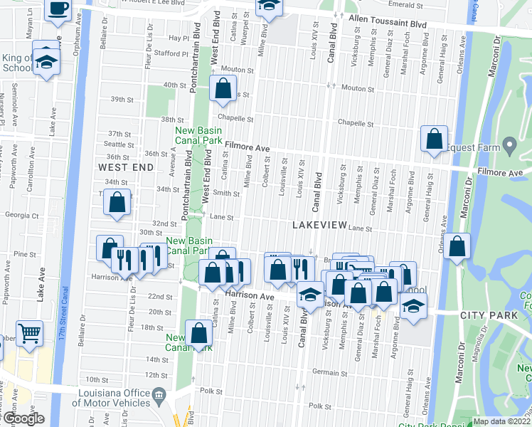 map of restaurants, bars, coffee shops, grocery stores, and more near 6503 Colbert Street in New Orleans
